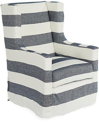 One Kings Lane Nicole Swivel Chair - Blue/White Linen