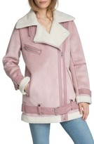 AVEC LES FILLES Women's Faux Shearling Biker Jacket