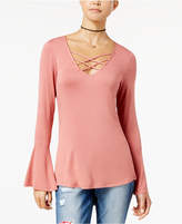 Ultra Flirt Juniors' Bell-Sleeve High-Low Top