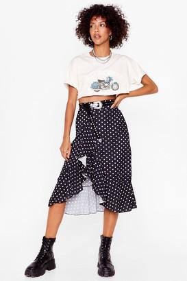 Nasty Gal Womens Not Gonna Wrap-en Polka Dot Midi Skirt - Black