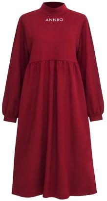 Annro High Neck Burgundy Maxi Dress