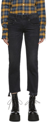 R 13 Black Boy Straight Jeans
