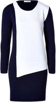 J.W.Anderson Merino Wool Blend Asymmetric Panel Dress in Navy/White