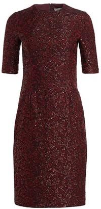 Teri Jon By Rickie Freeman Metallic Jacquard Cocktail Dress