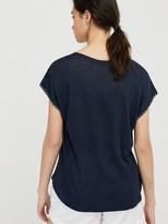 Monsoon Liza Stitch Detail Linen T-Shirt - Navy