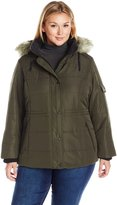 Details Women's Plus Size Puffer Coat with Black Contrast Trim and Faux-Fur Trimmed Hood
