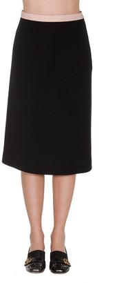 Gucci Logo Print Waistband Midi Skirt