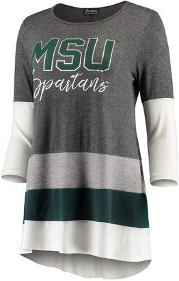 Women's Charcoal/Green Michigan State Spartans Block Party Color Blocked Drapey Long Sleeve Tri-Blend Tunic Shirt