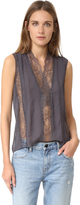 Alice + Olivia Peta Sheer Lace Sleeveless Top