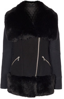 Karen Millen Faux Fur Trim Padded Coat