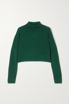 Reformation Net Sustain Cropped Cashmere And Wool-blend Sweater - Emerald