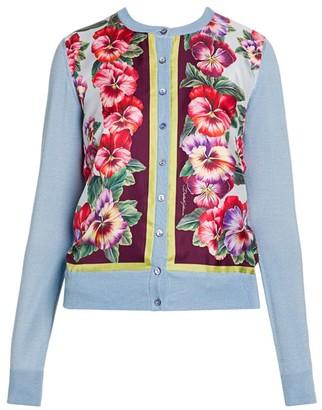 Dolce & Gabbana Floral Silk Knit Cardigan