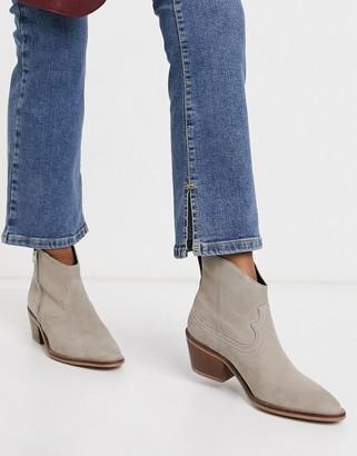 AllSaints Carlotta western boots in stone suede
