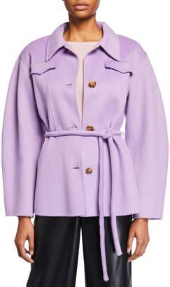 Nanushka Adut Belted Button-Front Coat