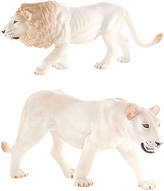 White Male Lion & White Lioness Figurine Set
