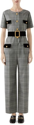 Gucci Short Sleeve Prince Of Wales Check Belted Jumpsuit