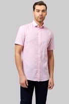 Moss Bros Slim Fit Pink Linen Short Sleeve Casual Shirt