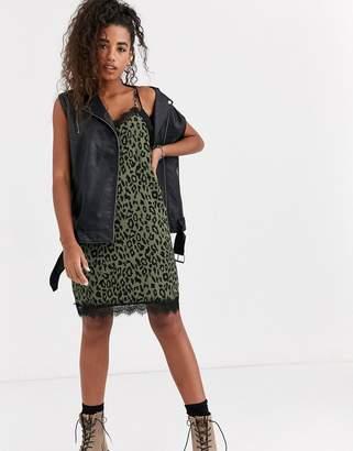 Pepe Jeans Anne leopard print slip dress-Gold