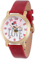 Disney Princess Disney Minnie Mouse Womens Red Leather Strap Watch-Wds000254