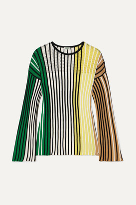 Kenzo Striped Ribbed-knit Sweater - Black