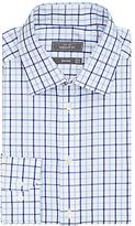 John Lewis Non Iron Large Check Regular Fit Shirt, Navy/white