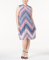 NY Collection Plus Size Keyhole Printed Shift Dress