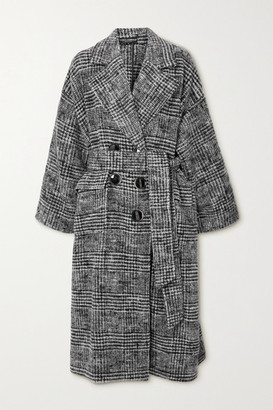 Dolce & Gabbana Belted Prince Of Wales Checked Wool-blend Coat - Gray