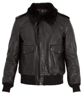 Schott Detachable Faux Shearling And Leather Jacket - Mens - Black