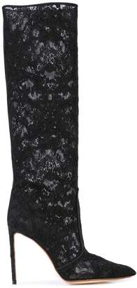 Francesco Russo lace knee-high boots