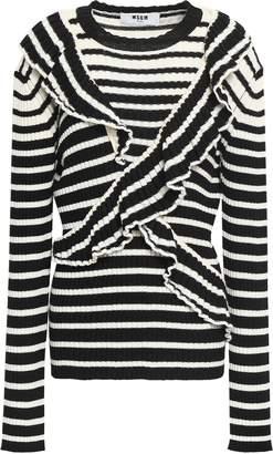 MSGM Ruffled Ribbed Striped Wool-blend Sweater
