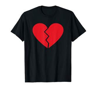 Emoji Broken Heart T Shirts Cool Red Emoji Broken Heart Print T-Shirt