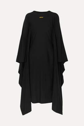 Ambush Draped Printed Cotton-jersey Midi Dress - Black