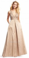 Aidan Mattox Beaded Metal Tone Box Pleated A-line Evening Dress