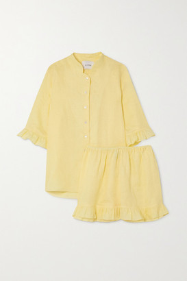 Sleeper Ruffled Linen Pajama Set - Yellow
