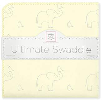 Swaddle Designs Ultimate Swaddle Blanket, Premium Cotton Flannel, Sterling Deco Elephants on Sunwashed Yellow