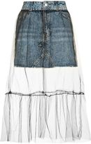 Tall moto tulle overlay denim skirt