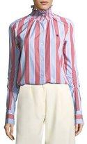 Carven Smocked Collar Long-Sleeve Striped Poplin Shirt