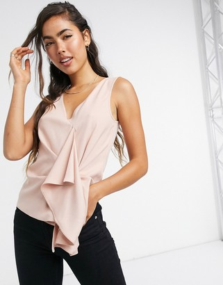 ASOS DESIGN sleeveless origami front ruffle top in pink