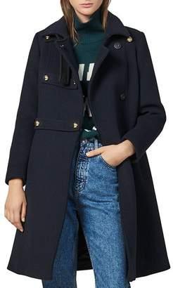 Sandro Office Wool-Blend A-Line Coat