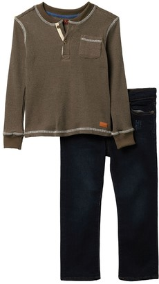 7 For All Mankind Thermal Shirt & Jeans Set (Toddler Boys)