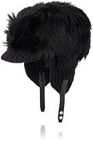Prada Men's Fur & Rib-Knit Earflap Hat-BLACK