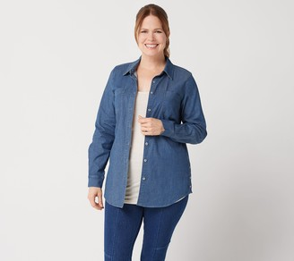 Denim & Co. Stretch Woven Button Front Tunic