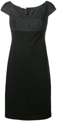 Prada Pre Owned Two Tone Fitted Dress
