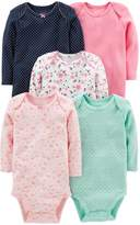Carter's Simple Joys By Simple Joys by Baby Girls' 5-Pack Long-Sleeve Bodysuit