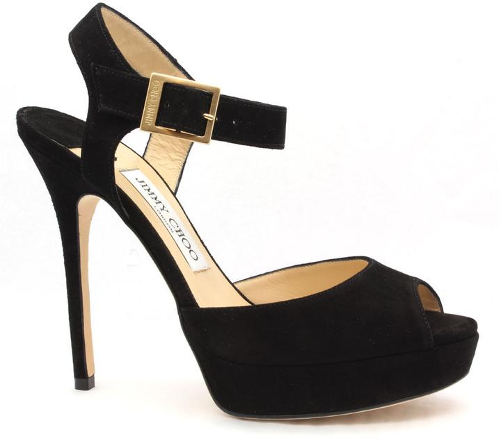 """Jimmy Choo Linda"""" Black Suede High Heel Sandal"""