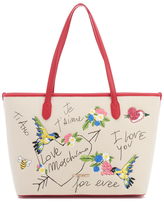 Love Moschino Women's Love Scribble Tote Bag Beige/Red