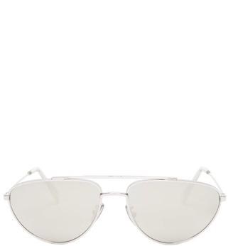 Celine Mirrored Aviator Metal Sunglasses - Silver