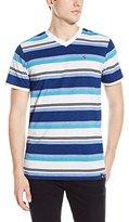 Southpole Men's Stripe V-Neck T-Shirt with Thick Auto Stripes Contrasting Color Tone