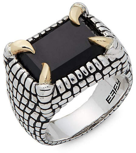 Effy Fine Jewelry Men's Onyx, Silver & 18K Carved Midi Ring