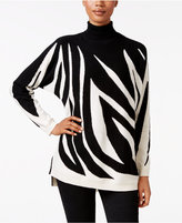 Charter Club Petite Cashmere Zebra-Print Sweater, Only at Macy's